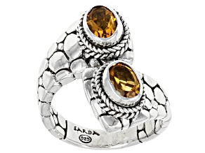 Yellow Citrine Sterling Silver Bypass Ring 1.20ctw