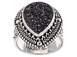 Black Knight™ Drusy Quartz Silver Ring