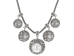 White Cultured Mabe Pearl Silver Tree of Life Necklace