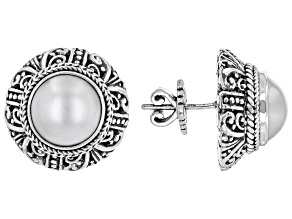 White Cultured Mabe Pearl Silver Tree of Life Earrings