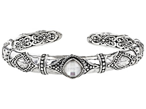 White Mother-of-Pearl Silver Bangle Bracelet