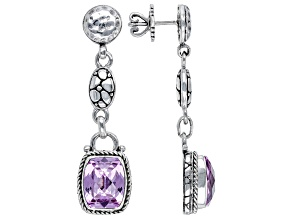 Pink Lab Created Sapphire Sterling Silver Earrings 9.02ctw