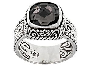 Black Knight™ Quartz Silver Filigree Ring 2.86ct