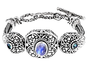 Rainbow Moonstone & Abound™ Topaz Silver Bracelet .52ctw