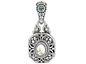 White Rainbow Moonstone & Abound™ Topaz Silver Pendant .26ct