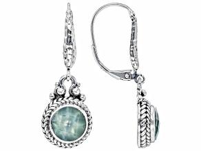 Green Prehnite Sterling Silver Filigree Earrings