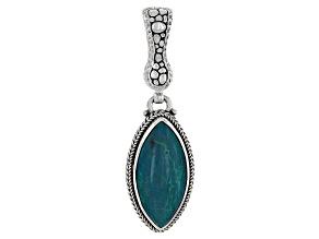 Green Chrysocolla Sterling Silver Watermark Pendant