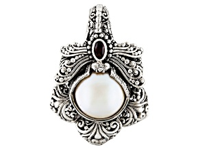 Pearl Mabe Silver Dragonfly Pendant .20ctw