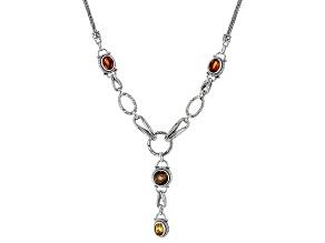 Carnival™ Quartz, & Citrine Silver Necklace 5.65ctw