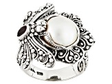 Pearl Mabe Silver Ring .20ctw