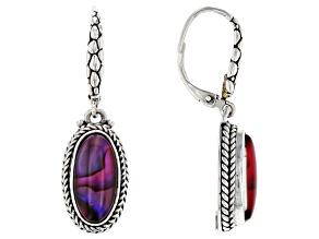 Purple Abalone Quartz Triplet Silver Earrings