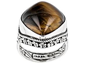 Brown Tigers Eye Sterling Silver Watermark Ring