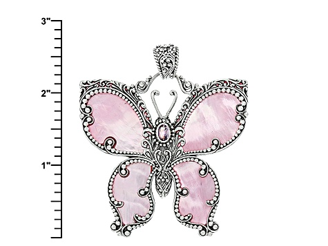 Pink Mother Of Pearl Butterfly Pendant .46ctw