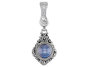 Cultured Blue Mabe Pearl Silver Tree of Life Enhancer Pendant