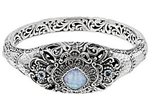 Multi-Color Lab Created Opal Quartz Doublet, Topaz Silver Bracelet 3.35ctw