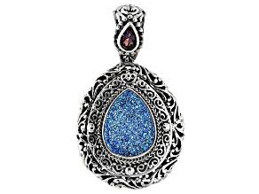 Blue Baby Moon™ Drusy Quartz Silver Pendant .47ctw
