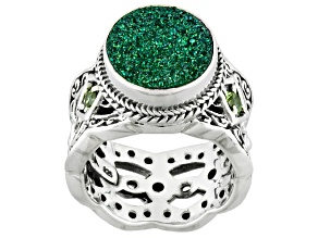 Fern Green™ Drusy Quartz Silver Ring .20ctw