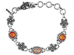 Opal & Alizarian Crimson Quartz Doublet Silver Bracelet