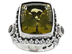 Olive Quartz Sterling Silver Ring 15.76ctw