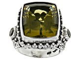 Olive Quartz Sterling Silver Ring 15.76ctw