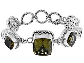 Olive Quartz Sterling Silver Bracelet 39.74ctw