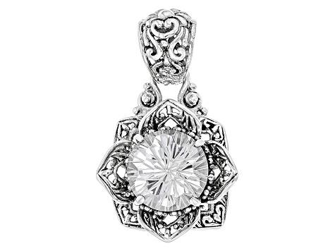1 Flower pendant antique silver tone F309