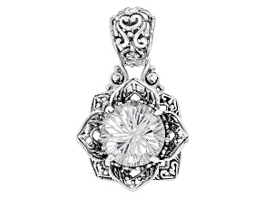 White Quartz Sterling Silver Flower Pendant 5.70ctw