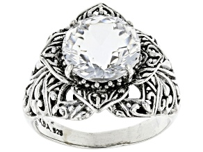 White Quartz Sterling Silver Flower Ring 5.70ctw