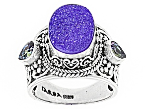 Lobelia™ Drusy Quartz Silver Ring 1.00ctw