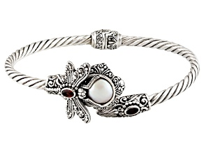 Pearl Mabe Silver Dragonfly Bracelet .20ctw