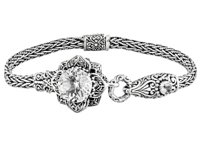White Quartz Sterling Silver Flower Bracelet 5.93ctw