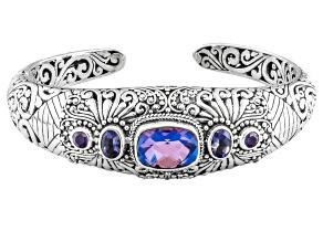 Purple rainbow quartz triplet silver bracelet 1.54ctw