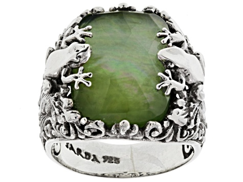 Green Serpentine Triplet Silver Frog Ring