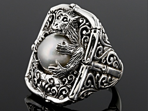 Pearl Mabe Silver Monkey Ring