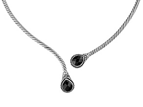 Black Spinel Silver Necklace 4.00ctw