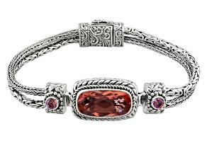 Pink Melon Quartz Triplet Silver Bracelet .46ctw