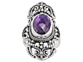 Rainbow Purple Quartz Triplet Silver Ring