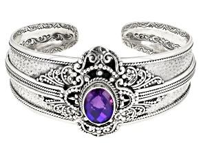 Rainbow Purple Quartz Triplet Silver Cuff Bracelet