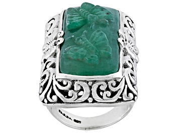 Picture of Green Aventurine Quartz Butterfly Silver Ring