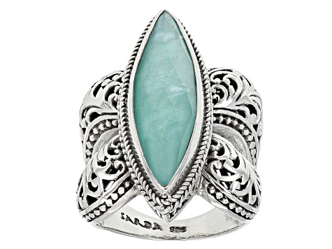 Blue Mexican Turquoise Triplet Silver Ring