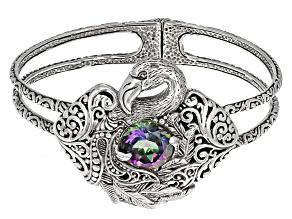 Odyssey Green™ Mystic Quartz® Silver Flamingo Bracelet 5.10ctw