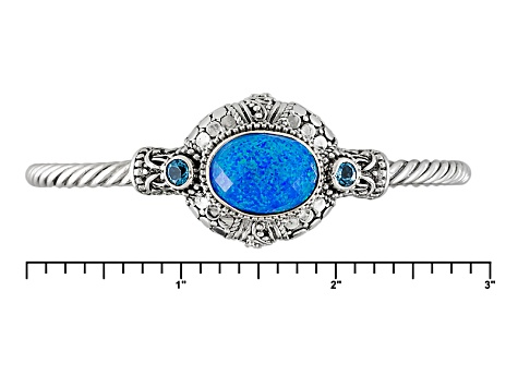 Blue Lab Created Twilight Opal Doublet And Swiss Blue Topaz Sterling Silver Bracelet .48ctw