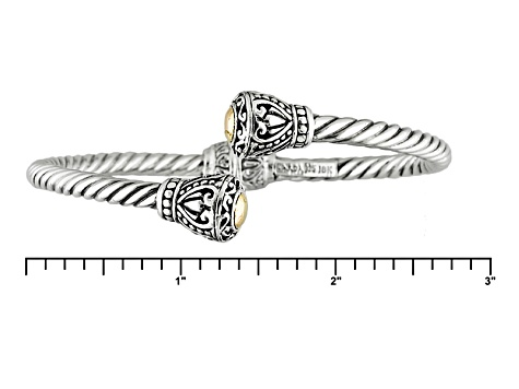 Silver And 18k Gold Over Silver Bangle Bracelet