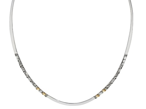 Silver And 18k Gold Over Silver Accent Collar Necklace