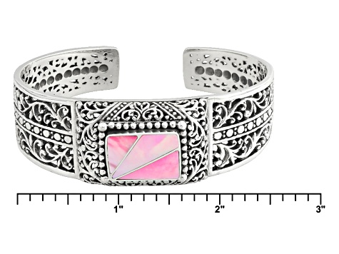 Pink Mother Of Pearl Silver Cuff Bracelet