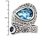 Swiss Blue Quartz Triplet Silver Ring .25ctw