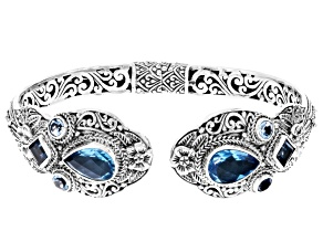 Swiss Blue Quartz Triplet Silver Bracelet 2.30ctw