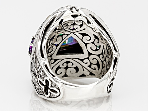 Serenade N Blue™ Mystic Quartz® Silver And 18kt Gold Ring 4.85ctw