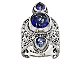 English Blue™ Mystic Quartz® Silver Ring 4.65ctw