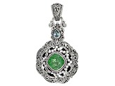 Green Crackle Quartz Silver Pendant 4.80ctw
